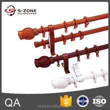 decorative home wooden grain aluminum curtain rod pole with accessory