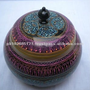 Colorful Wooden Round Bowl with Lid