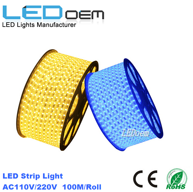 Outdoor Waterproof 220V 5050 RGB LED Strip 100M