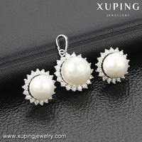 63969 Xuping inlayed stone fashion beards earring flower statement jewelry set in latest design for woman