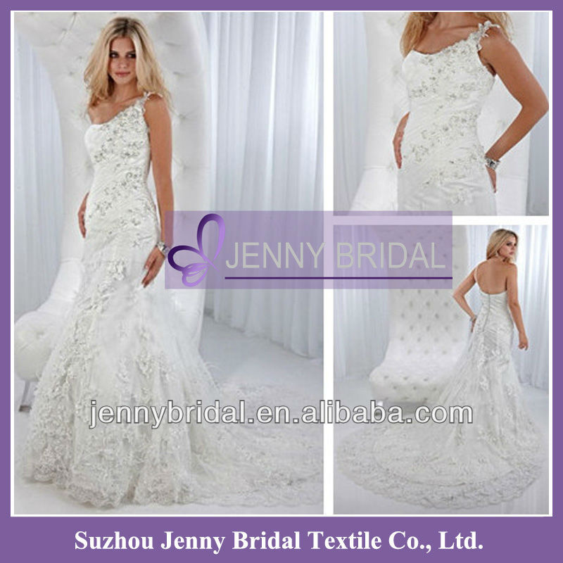 PB082 2012 New style crystal lace mermaid wedding dress for big woman