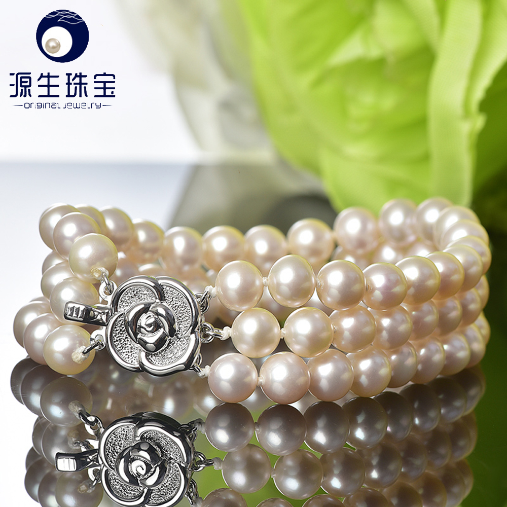 2016 beautiful fashion 6-7mm AAA high luster freshwater pearl bracelet with S925 silver clasp