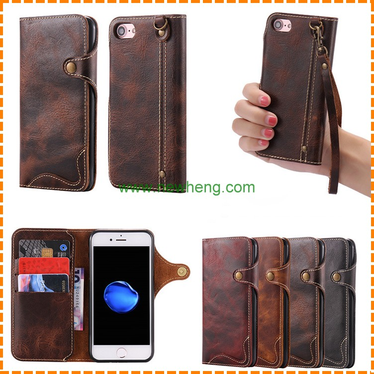 Luxury Genuine Leather Wallet Case for iphone 7 Plus ,for iphone7 business style