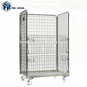 Equipment Stackable Storage Rolling Wire Mesh Container