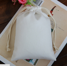 logo printed promotional calico cotton mining bags small drawstring bag