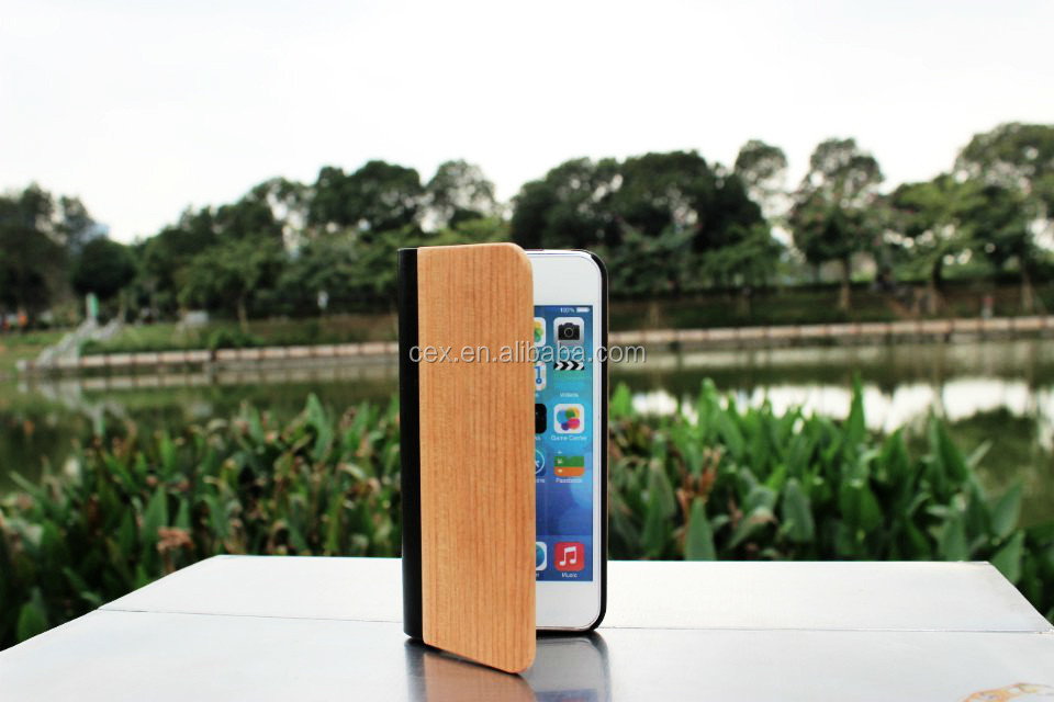 Real Natural Genius Wood Wooden Leather Flip Case Cover For iPhone 5 5s 4 4s