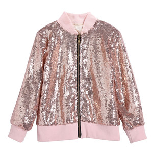 Wholesale Long Sleeve Sequin Baby Girls Jacket Shinning Coat