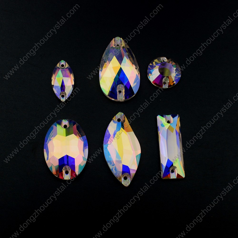 Variety of AB Flat Back Drop Crystal Beads For Sewing Garment