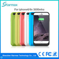 Smooth surface 3500mAh plastic backup battery charger case for iphone 6