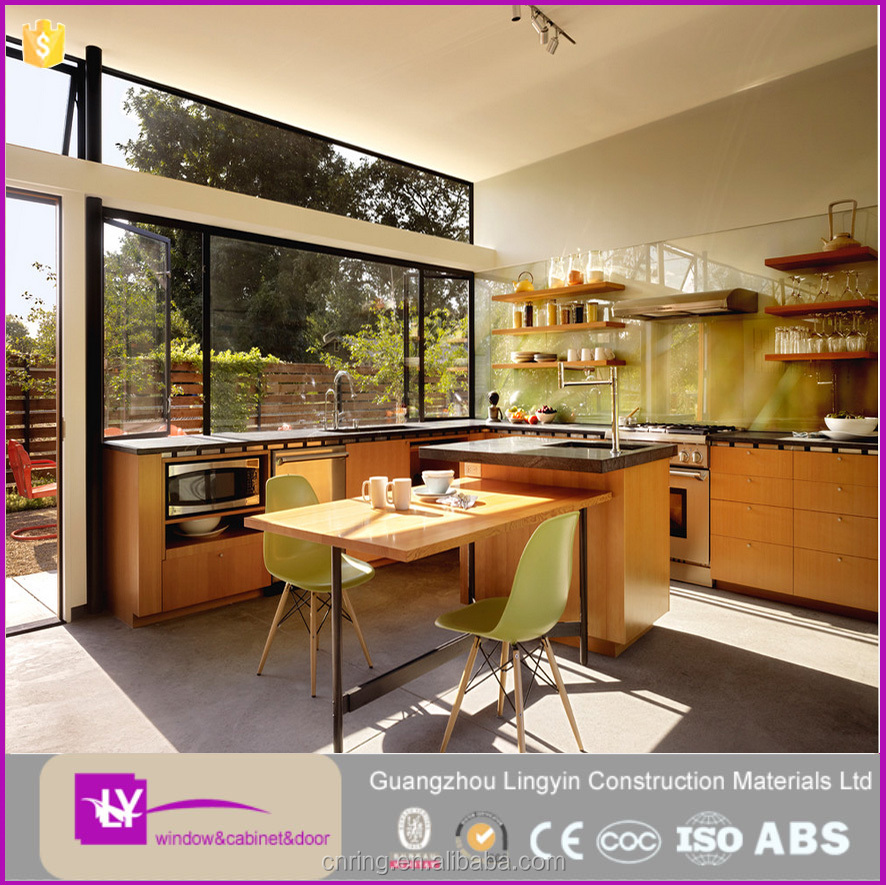 2016 open style high quality PVC membrane kitchen designs plastic kitchen cabinet