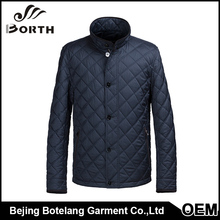 Fashion Men's Light Jacket Blue Leisure Square Collar Stainless Snap Button Geometric Quilting Seam Fashion Coat
