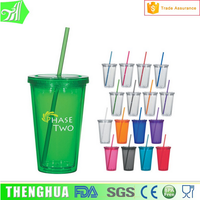Thermos insulated double-wall plastic cup with lid and straw