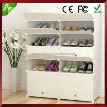 China supplier household cleaning product large space non-woven shoe rack double line simple cloth plastic holder