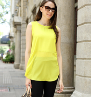 S62962A 2015 Summer Plus size women chiffon blouses shirts o neck sleeveless irregular solid fashion casual ladies tops