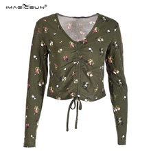 High quality green lady blouse long sleeve summer blouses fashion crop top for women