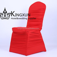 Red Color Banquet Pleated Spandex Chair Cover \ Ruffled Wedding Chair Cover