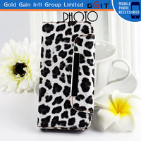 Mobile Phone Accessories Leopard Wallet Strap Case For Iphone 5S Flip Case With Magnetic Clasp