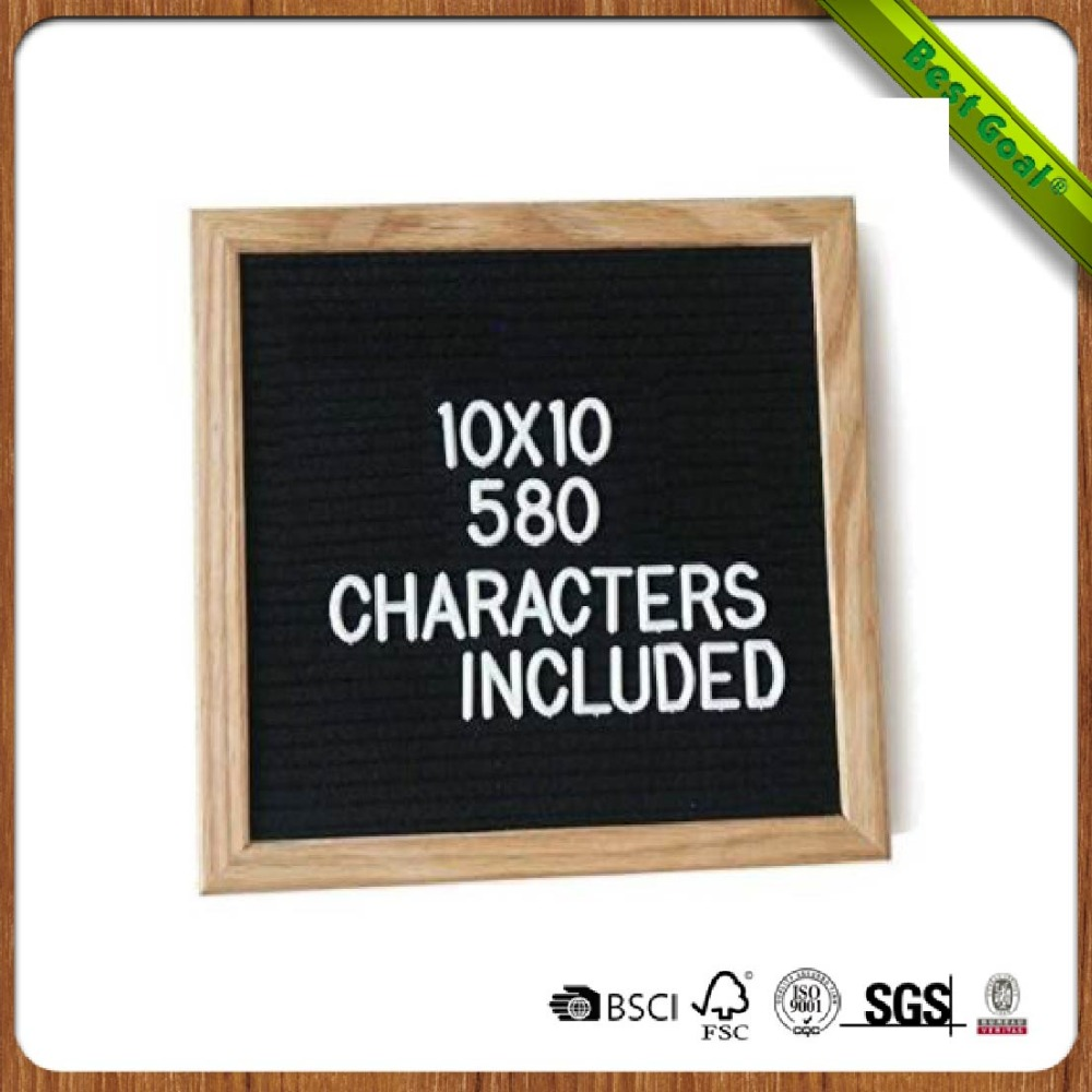 Oak Frame changeable felt letter board with 290 Characters Included