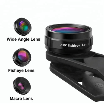 2018 Hot popular product clip 3 in 1 fisheye macro wide angle camera lens kit for smartphones/ iphone x/ samsung