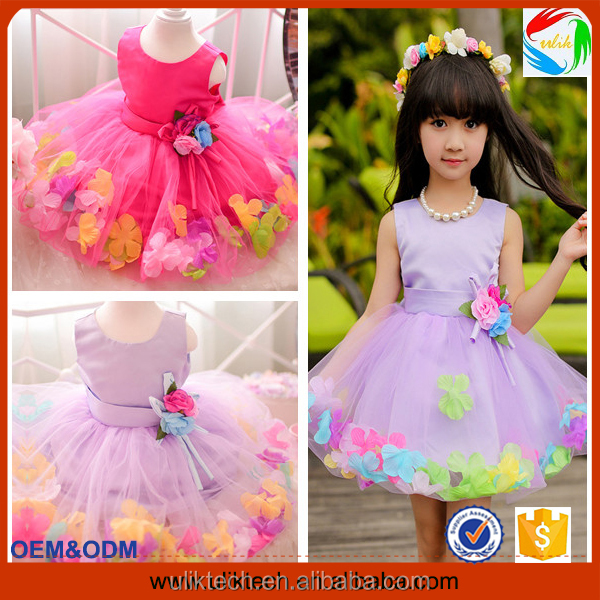 2016 fashion style baby girls kids clothes spring frock design flower dress boutique quality baby dress