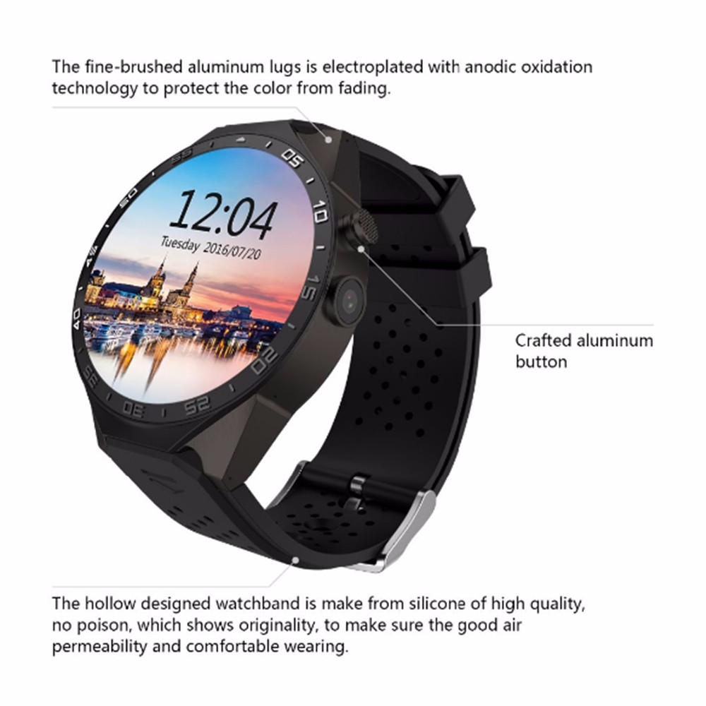 KW88 Bluetooth 4.0 Android 5.1 OS Smart Watch, Wirst Smart Watch Mobile Phone with 2G 3G Dual SIM GPS WIFI