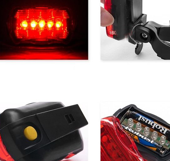 New High Quality Mountain Bike Bicycle 5 LED Bright Rechargable Back Light Lamp