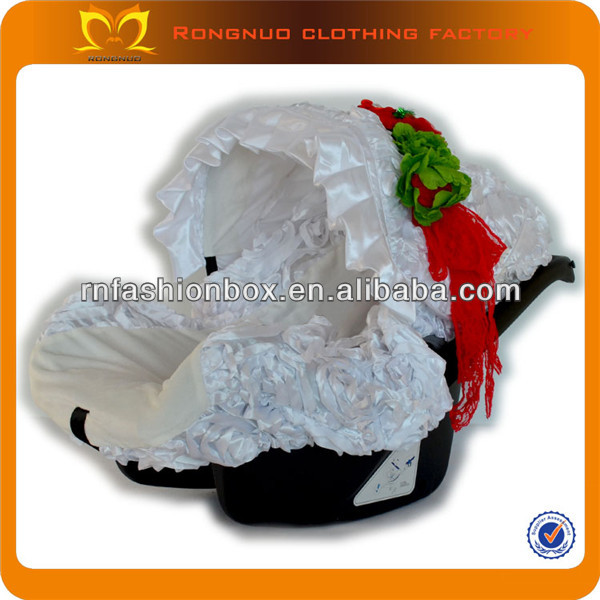 New design child car seat covers toddler White rosette cotton graco infant car seat covers wholesale