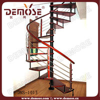pvc handrail spiral stairs with wood tread