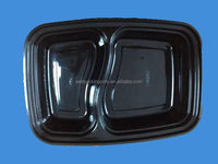 2-compartment black disposable plastic bento lunch box with clear lid