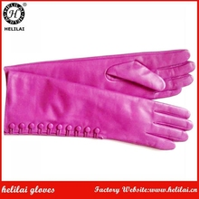 Ladies Long Hot Pink Side Buttoned Elbow Length Opea Leather Dress Gloves for Women
