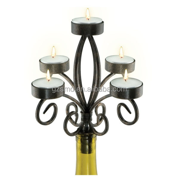 5 Arms Wrought Iron Wine Bottle Candle Holder