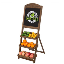 Rustic Burnt Wood Chalkboard Wooden Blackboard with 3-Tiered Display <strong>Shelves</strong>
