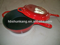 cast iron enamel double fry pan with cover