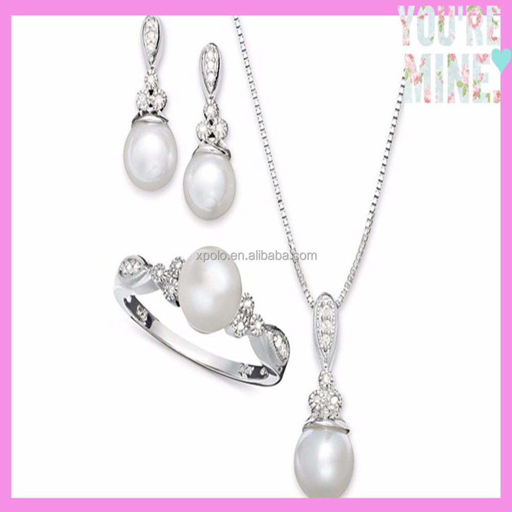 wholesale bead jewelry silver pearl crystal ring