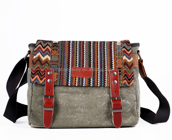 15 inch laptop Messenger Bag Leisure Canvas Shoulder Crossbody Bag with leather