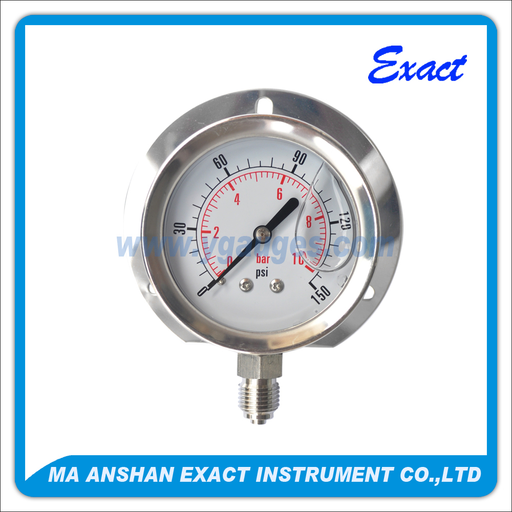 all ss type bourdon tube with back flange Liquid Filled mechanical Pressure Gauge for pressure measuring