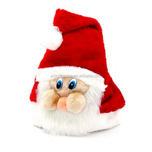 China products new design pattern fabric Xmas cap wool felt Christmas santa claus hat with pompon for photo prop newborn infant
