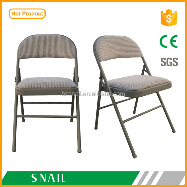 new design high quality padded steel folding chair with fabric