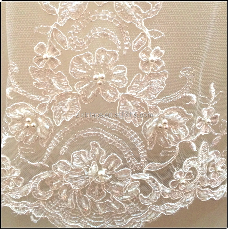 High quality hand embroidery designs bridal beaded lace