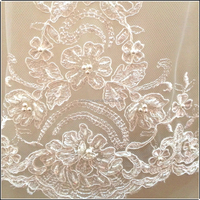 High quality hand embroidery designs bridal beaded lace for wedding dresses