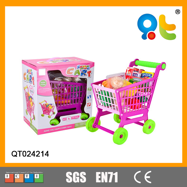 Funny plastic toy pretend playing set fashion kids shopping cart toy