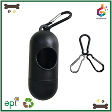 Pill shaped plastic pet poop bag holder for doggy waste