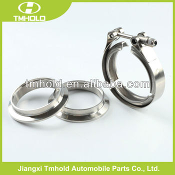 2.25 inch t bolt turbo v band exhaust hose clamp with double flanges for tubing downpipe