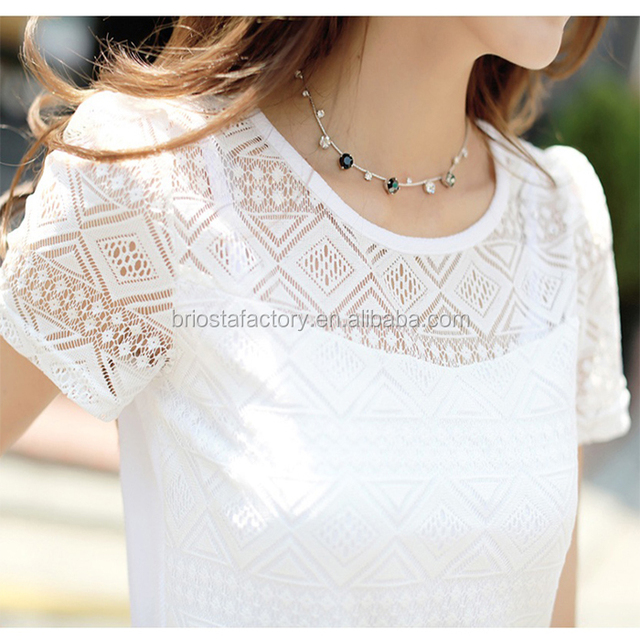 Lace Chiffon Short Sleeve Summer White Blouse