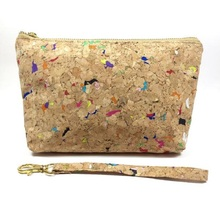 custom fashion women zipper cosmetic pouch cork portugal