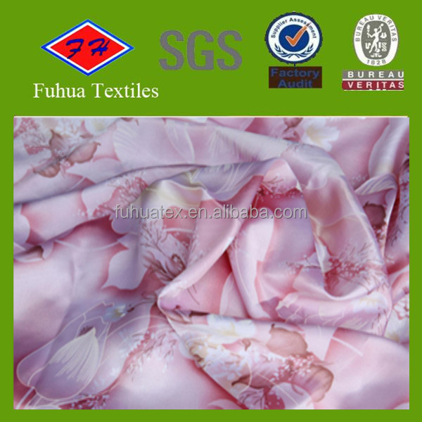 twist dull printed satin fabric for making bedsheet