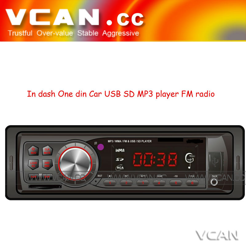 VCAN0713 car mp3 player in dash One din car stereo mp3 usb sd