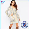 Womens Sexy Elegant V-Neck Collar Wrapped Fluted Sleeve Striped Party Casual Dress