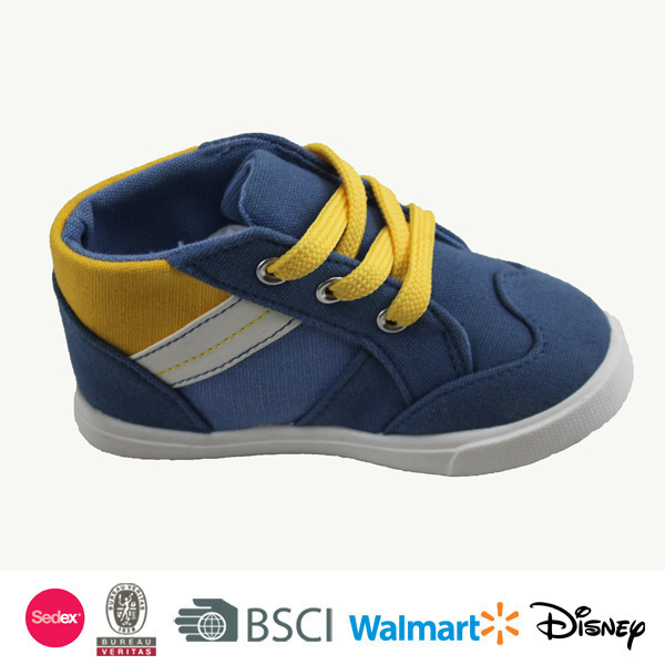 2014 kids fashionable lace-up china canvas shoes