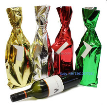 Plastic gift wraps Chrismas wine bottle foil gift bag with card